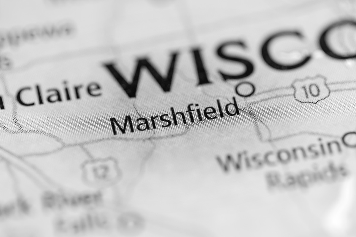 map zoomed in to Marshfield, Wisconsin