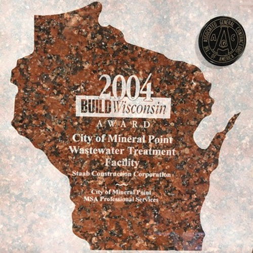 2004 Build Wisconsin Award for the City of Mineral Point Wastewater Treatment Facility