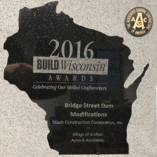 2016 Build Wisconsin Award for the Bridge Street dam modifications in the village of Grafton