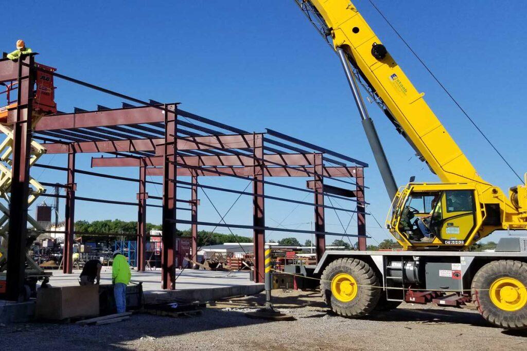 a construction site with a crane