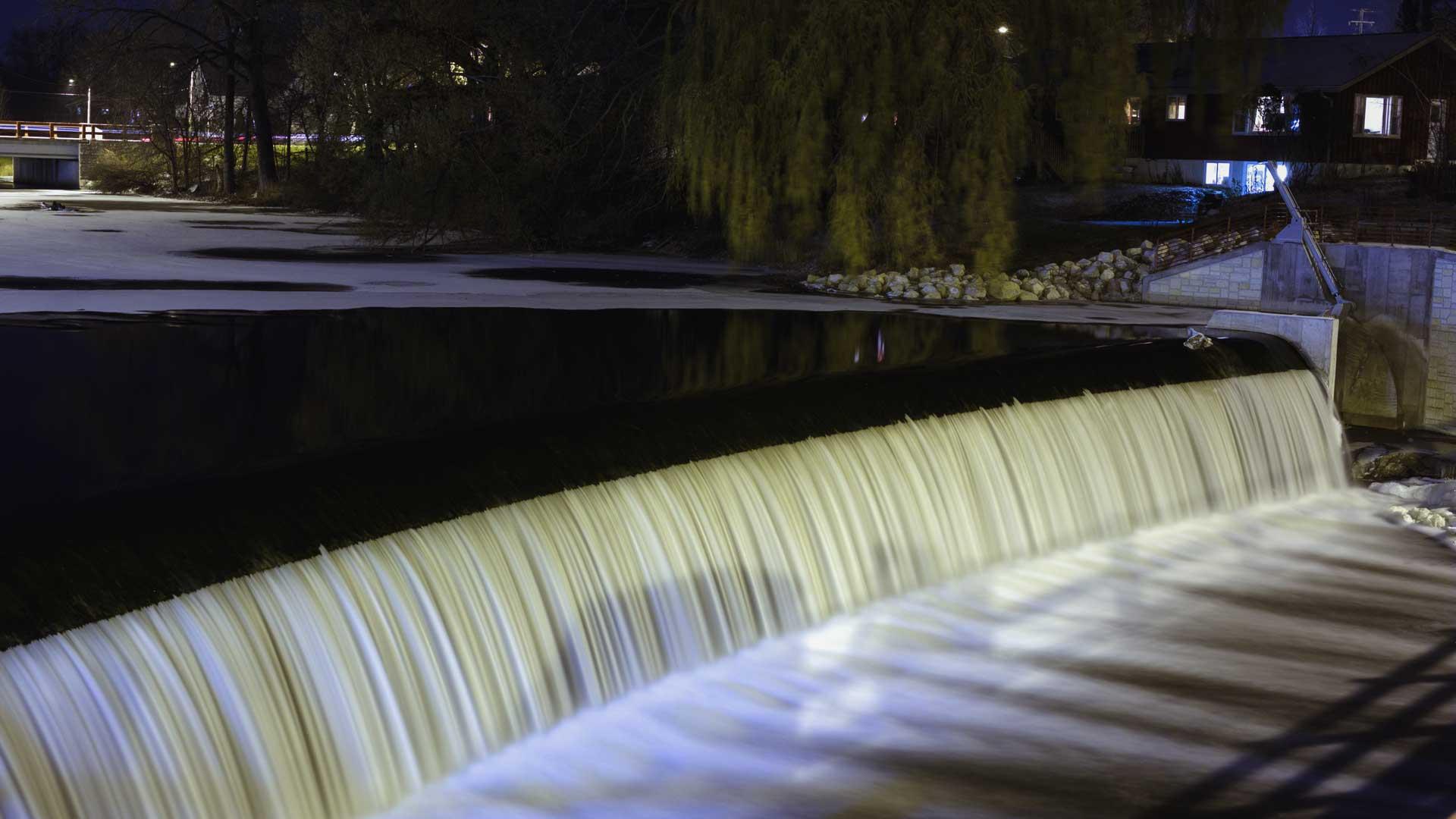 a dam waterfall