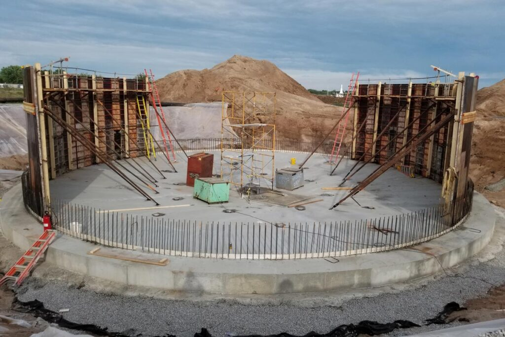 Wastewater treatment facility under construction