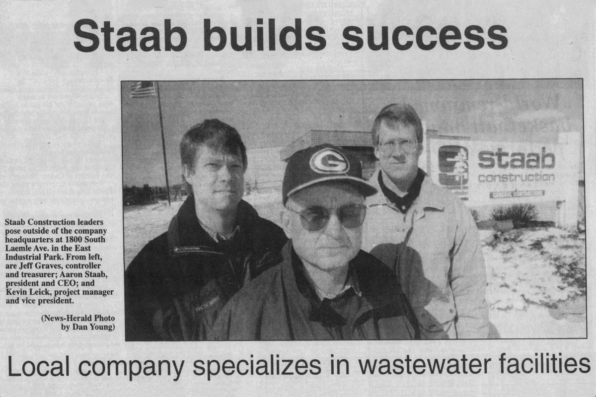 """newspaper clipping saying """"Staab builds success"""""""