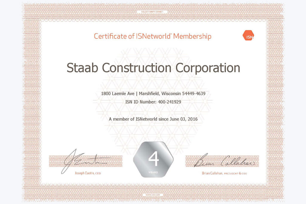 """Certificate of ISNetworld Membership """"Staab Construction Corporation"""""""