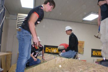Staab employees showing students building process